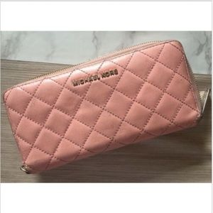 Michael Kors Pink Quilted Leather Zip Wallet